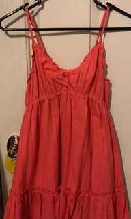 Orangey Pink Flowy Mini Dress