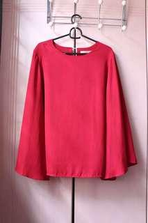 MILKTEE Bell Sleeve Deep Red Top