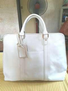 Authentic Buck Genuine Leather White Weekender Bag