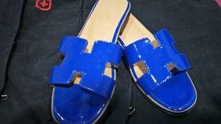 Selop wanita kulit hermes blue electric 38  / sendal wanita 38