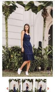 Mariella Eyelet Ruffles Midi Dress Navy