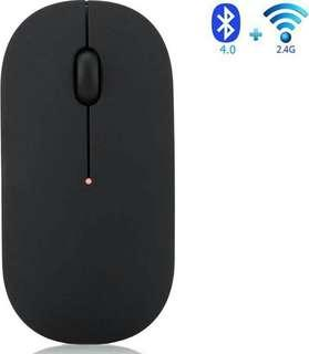 -1240-Wireless Mouse,Veeki Ultra-thin Noiseless 2.4GHz and Bluetooth Dual-module Wireless Mouse for PC Laptop Notebook Windows Android Mac OS  (Black)