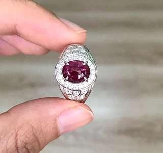 Natural Mogok Ruby in 925 Silver Ring