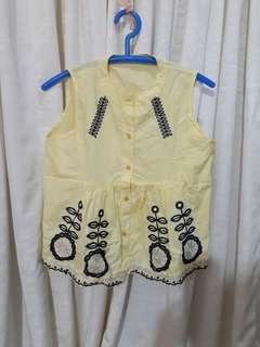 Yellow baby doll top / sleeveless shirt