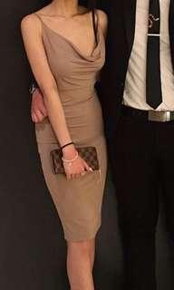 Taupe Cowl Neck Slinky Dress