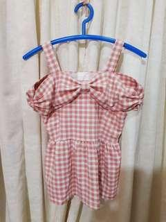 Kawaii cute pink baby doll ribbon cold shoulder top