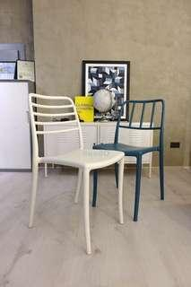 White and Blue Plastic Chairs