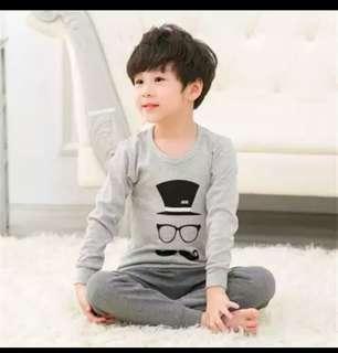 Ready stock Kid pajamas top Shirt Cotton long pants set