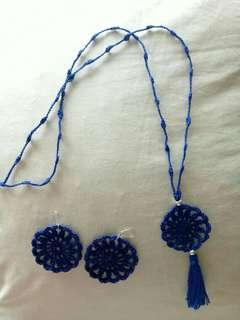 🚚 Necklace and earrings handmade blue