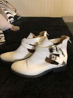 Tony Bianco 'Joker' white buckle ankle boots AU 7.5 RRP $199
