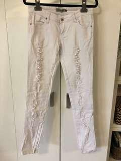Wakee white ripped low rise denim jeans size S