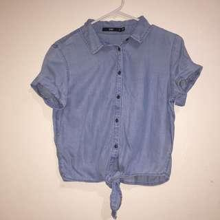 Denim crop shirt