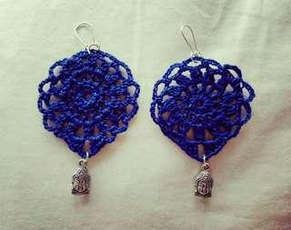 🚚 Earrings handmade blue and buda