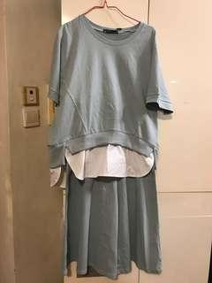 🈹️全新秋裝粉藍色套裙䃿 二件,超值