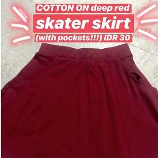 COOTON ON Red Skater Skirt w/ Pockets