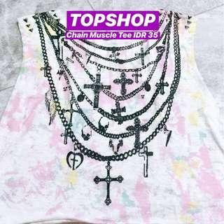TOPSHOP Grunge Cross Muscle Tee