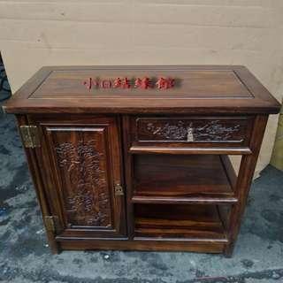 小o結緣館仿古傢俱....單抽單門刻花櫃''收納櫃'展示櫃 (雞翅木) 80x38x69