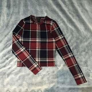 Forever 21 Plaid Red Longsleeves Top