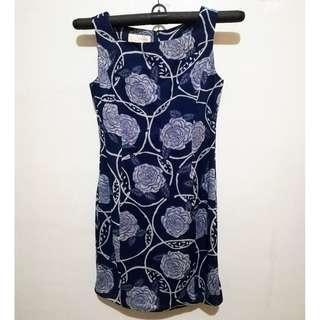 Blue floral semi-formal dress