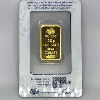 20GM 999.9 PURE GOLD BY PAMP SUISSE