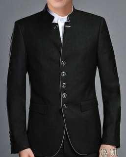 Black Chinese Tunic Suit (Stand Collar Coat)