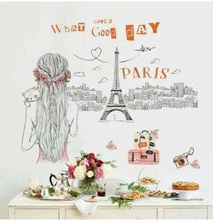 Wall Stiker / Stiker dinding Motif Paris Girl