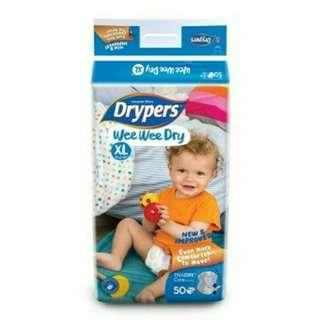 Drypers wee wee dry tape diapers xl carton