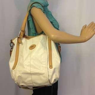 TOD'S G-BAG COATED CANVASS AND LEATHER SHOULDER BAG-BEIGE WHITE