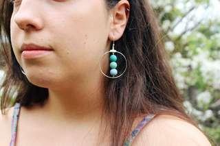 Handmade Turquoise Trio Hoop Dangles