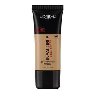 🚚 L'OREAL Infallible Pro-matte Foundation - 105 Natural Beige