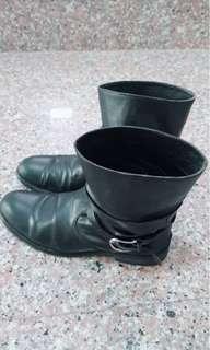 🚚 韓版黑色皮靴