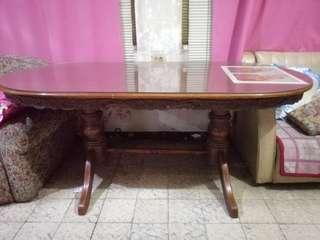 Antique narra oval 6 seater table with top glass