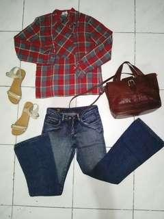 BUNDLE SALE!! Checkered Long Sleeve Top & Flared Jeans