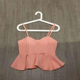Peplum soft pink top