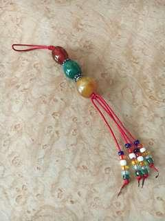 Brand New Oriental Precious Stone Red and Green Keychain Accessory