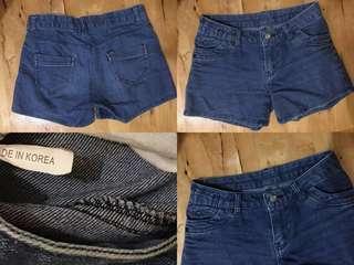 🚚 韓國帶回深色彈性牛仔短褲 尺寸S、M都合適