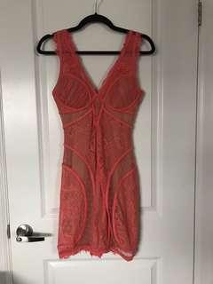 Bebe Orange Lace with Nude Underlay Dress