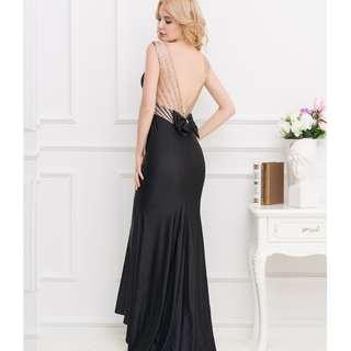 CELLY Plus Size Black Formal Golden Strap Open Back Evening Dress (CSOH V1017-1P)