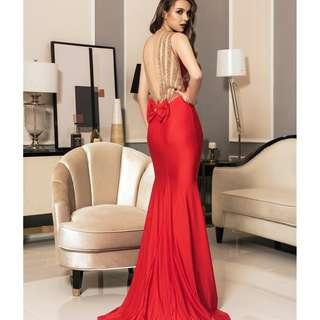 CELLY Red Backless Formal Evening Dress With Golden Strap (CSOH V1017-2P)