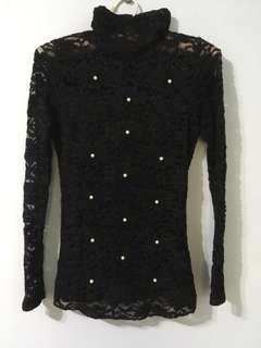 高領蕾絲透膚小珍珠黑色長袖上衣#十月女裝半價