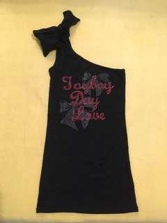 蝴蝶結單肩斜領水鑽黑色長版背心#十月女裝半價