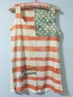 美國國旗印花背心 無袖上衣#十月女裝半價