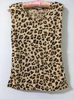 豹紋無袖墊肩上衣 背心#十月女裝半價