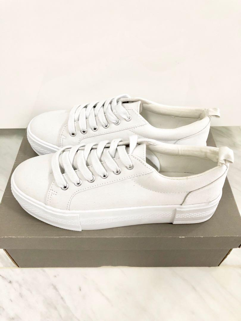 BN H\u0026M Platform All White Sneakers