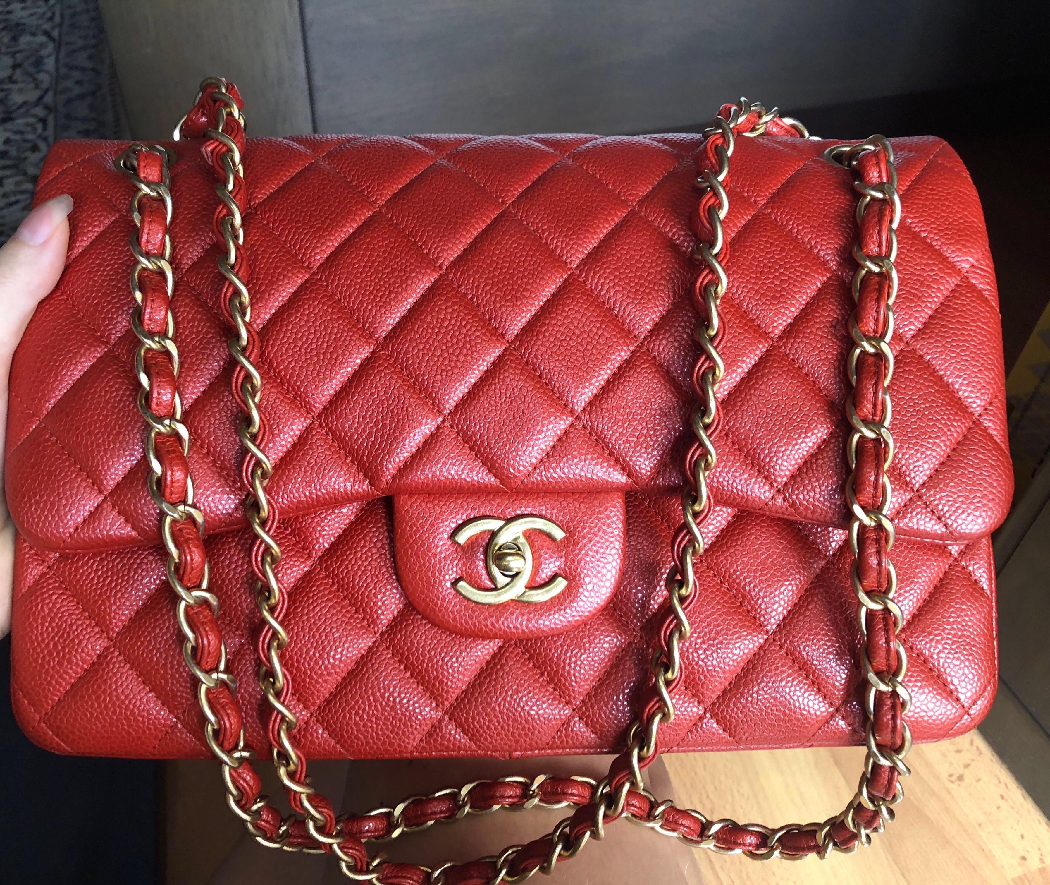 4eeed889cf21 Chanel jumbo red caviar with ghw, Luxury, Bags & Wallets, Handbags on  Carousell