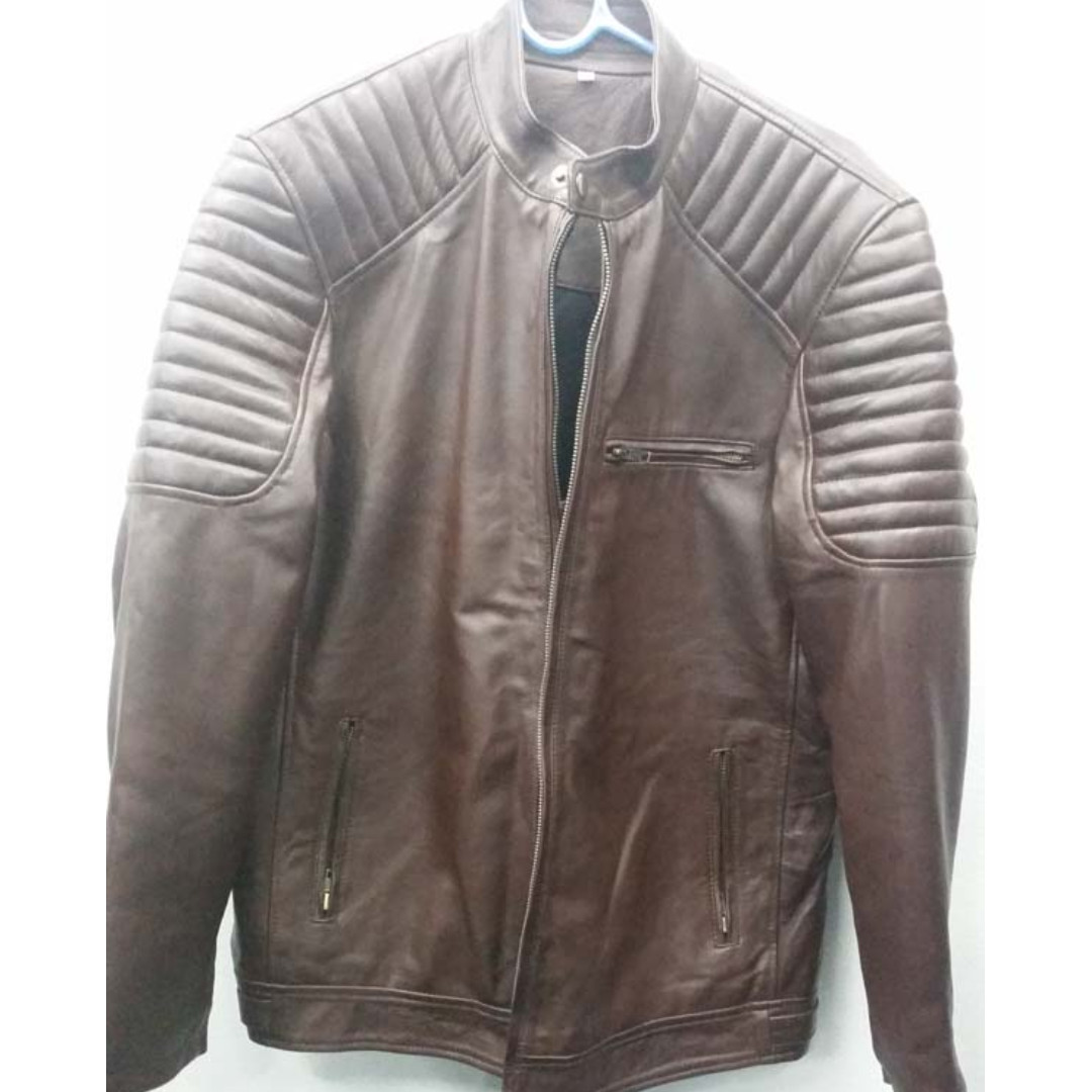 8b257f37 Dark Brown Racer sheep leather jacket, Men's Fashion, Clothes ...