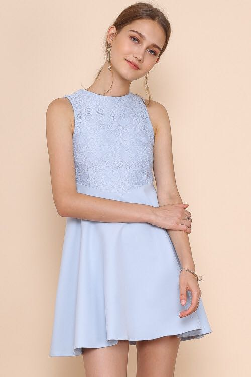 8d895650ed Eliza Lace Skater Dress with removable collar (Pastel Blue)