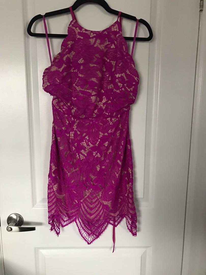 Fuschia Lace Dress with Nude Underlay