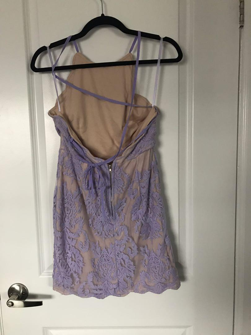Lavender Lace Dress with Nude Underlay