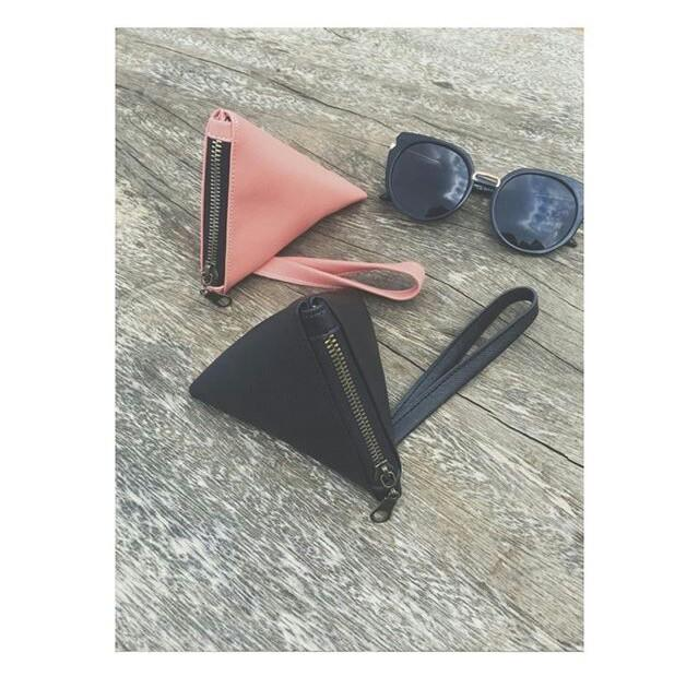 Leather triangle clutch